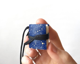 Leather Book Necklace in Blue and Gold -Astrid- Tiny Sketchbook Pendant Journal Celestial Galaxy Jewelry Anniversary Gifts for Her Under 50
