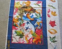 EOY Sale Rare DAISY KINGDOM Autumn Snowfall Fabric Panel Michelle Palmer #3111