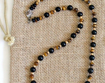 Men's Tigers Eye Onyx Beaded Necklace