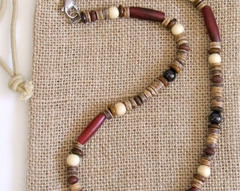 Native American Garnet and Red Horn Necklace