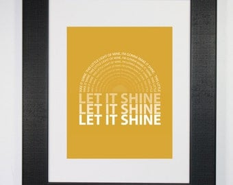 Let It Shine Typography Word Art