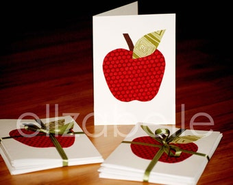 Set of 6 Apple Fabric Notecards Teacher Gift End of School or Back to Schol & Unique Gift for Friend Moving to New York NYC Big Apple