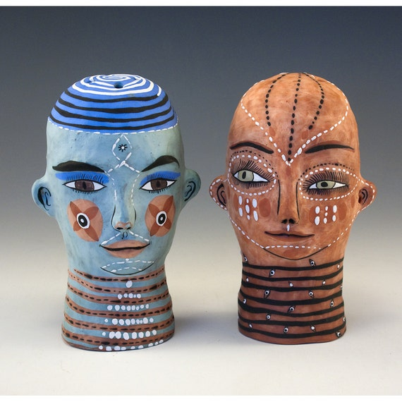 Original Jenny Mendes - Set of Ceramic Sculpted - Two Heads Salt and Pepper Shakers