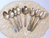 Community Silver Plate Flatware, Oneida Serving Spoons, Adam Pattern, Set of 8