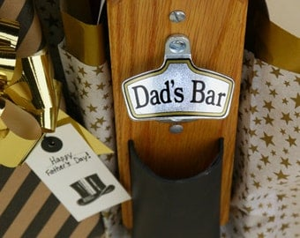 Personalized Father's Day Gift, Wall-Mount Bottle Opener with Bottle Cap Catcher - Magnetic or Wall Mount - Leather Pouch
