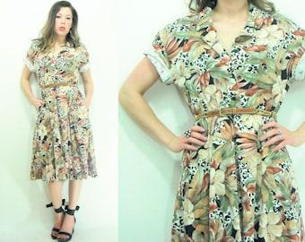 SAFARI Vintage 80's Tropical Floral Hawaiian Animal Print Leopard Full Skirt Shirt Dress / Shirtwaist Dress