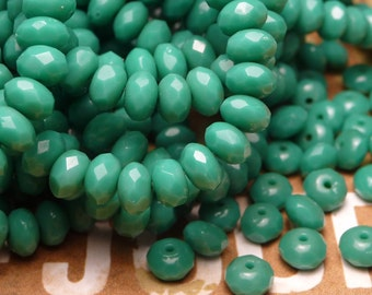Turquoise Faceted Glass Donut Beads 3x5mm - 20pc