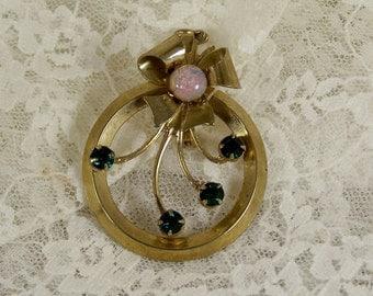 Beautiful Circle Wreath Glass Emerald Opal Pin Brooch, Vintage Gold Green Rhinestone Abstract, Estate Costume Retro Bridal Statement Jewelry