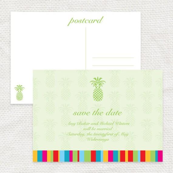 tropicana tropical wedding save the date postcard - printable file pineapple summer destination beach colourful outdoor travel hawaii green