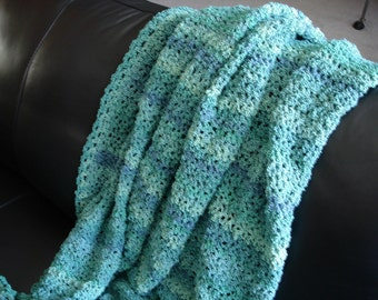 Boucle Blue-Green/Aqua Afghan Throw Blanket