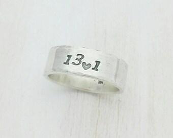 Custom Running Ring - Half Marathon, Marathon, 5k Running Silver Ring Band - I Love Running