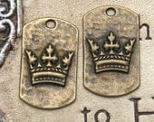 2 Antique Brass Crown Dog Tag Pendant 28 x 17mm Jewelry Supplies Pendant Earring component Altered Art Suppliy Necklace Pendant Scrapbooking