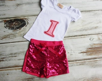 1st Birthday Outfit- Baby Girls Birthday Clothes- Cake Smashing Outfit- ONE in Pink shirt and Sequin Shorts- Glitter Birthday Shirt
