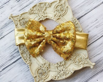 Gold Floppy bow, Gold Sequin Bow, Baby Head Wrap, Gold Messy Bow, Baby Gold Bow, Sparkle Bow Headband, Glitter Bow, Glitter Headband