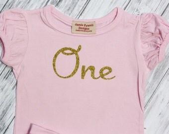 1st Birthday Shirt- Baby Girls Birthday Shirt- Cake Smashing Outfit- One Gold Pink shirt-Glitter Gold Birthday Shirt- 2nd Birthday Shirt-One