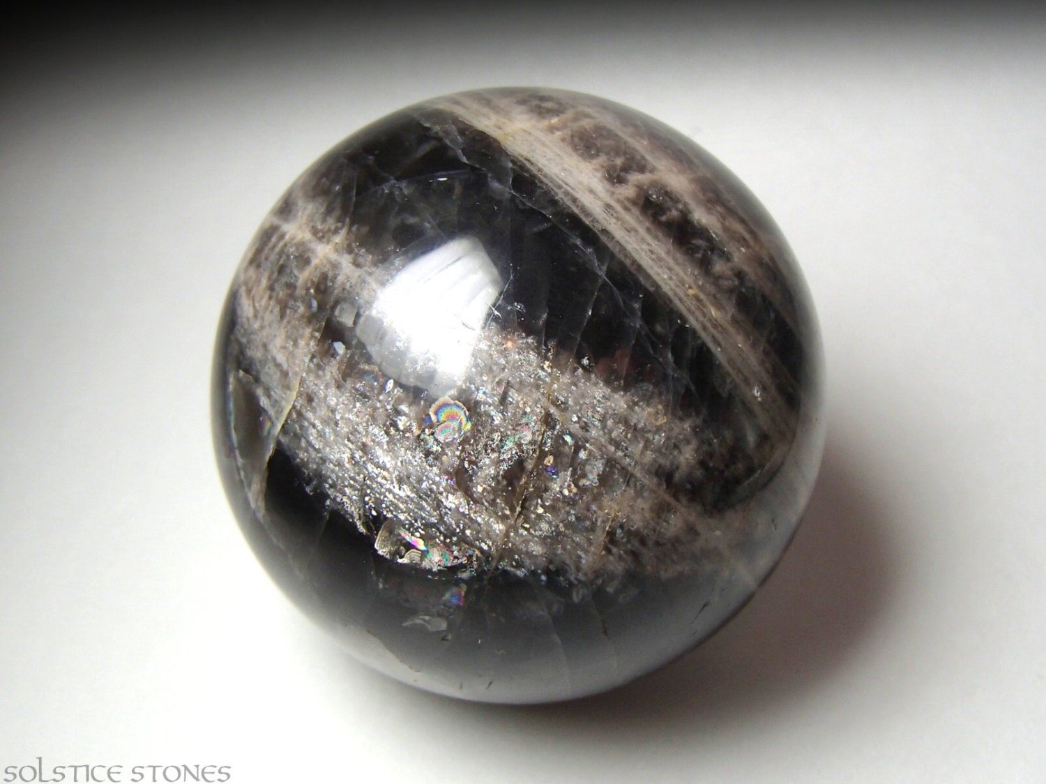 Shimmery Black Moonstone Crystal Ball... AA by SolsticeStones