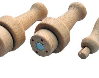 Heidifeathers 3 x Mixed Wooden Felting Needle Handles