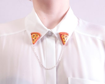 Pizza Slice Collar clips.Cardigan Clips. Pizza Jewelry. Sweater Clips. Food Collar clips.