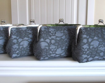 SALE, 15% Off, Bridal Silk And Lace Clutch Set Of 4 Graphite,Wedding Clutch,Bridesmaid Clutches,Bridal Accessories