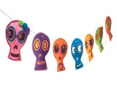 Day of the Dead Sugar Skull Garland - funny and colorful skull photo reproductions on felt