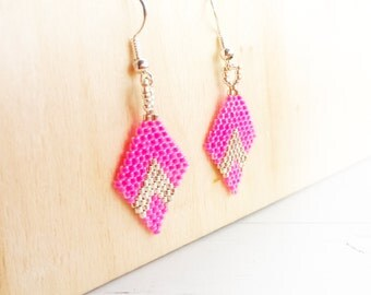Silver and Neon Pink Beaded mini Kite earrings