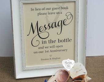 Message in the bottle Wedding Guest Book Beach, Wedding Signs Message In a Bottle, Guest Book Beach wedding 8x10 Wedding NO FRAME