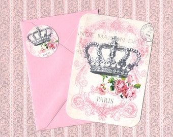 Note Cards, French Style, Roses, French Crown, Stickers