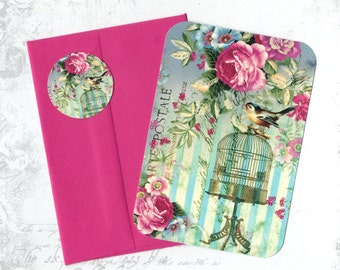 Note Cards, Birds & Roses, Bird Cards, Stickers, Greeting Cards