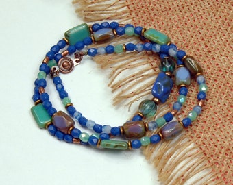 Beaded Wrap Bracelet, Beaded Necklace, Cobalt Teal, Summer Casual Jewelry