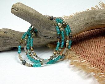 Boho Wrap..Aqua Coco,  Glass Beaded, Medium Necklace, Wrap Bracelet cbwmn49