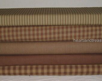 Dunroven House 5 Primitive Homespun Brown & Cream Fabric Fat Quarters