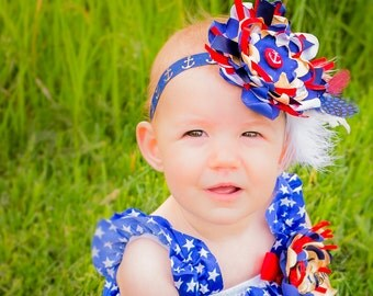 4th of July Themed Over the Top Headband, Boutique Nautical Firework Burnt Satin Flower, Gold, Red, White Blue Photo Prop, Feathers, Anchor
