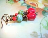 Sunrise - Czech Copper and Picasso Bead Earrings