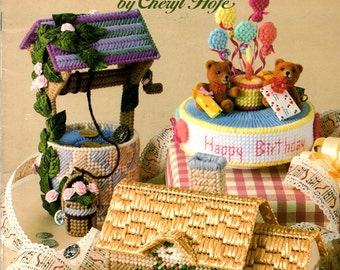 Music Boxes Wishing Well Cottage Birthday Cake Rabbit Rocking Horse Hat Box Plastic Canvas Needlepoint Embroidery Craft Pattern Leaflet 3069