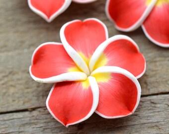 Red Polymer Clay  Flower Beads, 10 pcs, 35mm,   Hawaiian Flower -B112