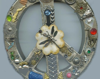 Vintage Watch and Jewelry  Parts Wall Hanging Mixed Media Peace Symbol