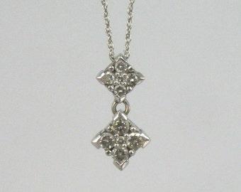Vintage Diamond Pendant - 10 Diamonds Total - 14K White Gold