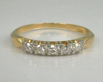 Fine Antique Diamond Wedding Band - 18K and Platinum Top