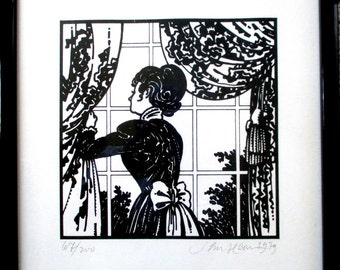 WOMAN AT WINDOW * Framed And Signed Lithograph 1979
