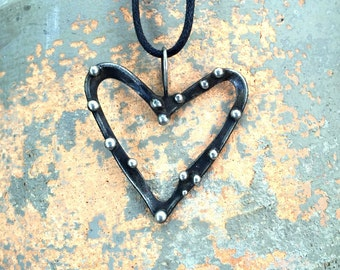Wild Heart mixed metal pendant necklace silver metalwork with black vintage finish