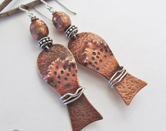 Egyptian Earrings, Sculptural Earrings, Mixed Metal Earrings, Silver & Copper Earrings, Artisan Handmade Jewelry, Exotic Boho Chic Jewelry