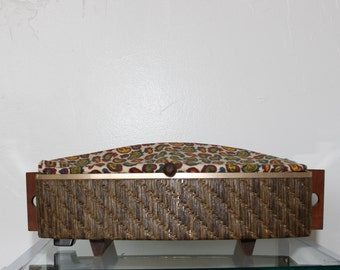 Vintage Mid Century Modern Salton Hotray Electric Bread Bun Warmer w Paisley Cloth Cover