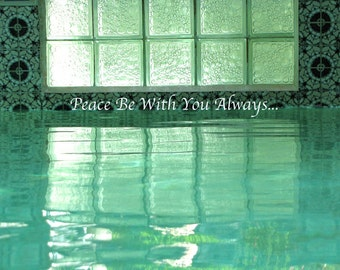 Blue Water Altar Art Instant Download Photo Reflections in Water Peaceful  Blue -Teal Water / Meditation Quote Art / Peaceful Blue Water Art