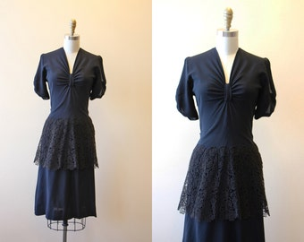 40s Dress - Vintage 1940s Dress - Black Rayon Crochet Lace Peplum Swing Dress S M - Bowtiful
