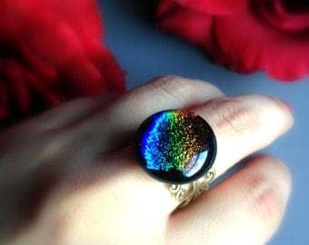 The Fortune Teller's Ring,  Adjustable Brass Ring, Fused Dichroic Glass, Handmade Jewelry by HoneyNest