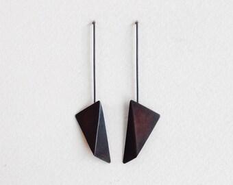 Geometric Copper Earrings, Geometric Silver Earrings, Triangle Dangle Earrings, Statement Earrings, Minimalist Earrings