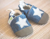 Organic Vegan Upcycled Denim Stars / NonSlip Soft Sole Baby Shoes / Made to Order / Babies Toddlers Preschool