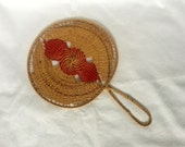 Victorian Woven Hand Held Fan - Raffia Sisal - Tan and Red - Antique 1800s
