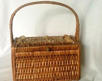 1940s Rattan Seashell Basket Handbag - Wicker Woven - Summer Purse