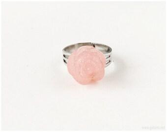 Sparkly Rose Ring, Pastel Pink, Adjustable, Sweet Lolita, Gyaru